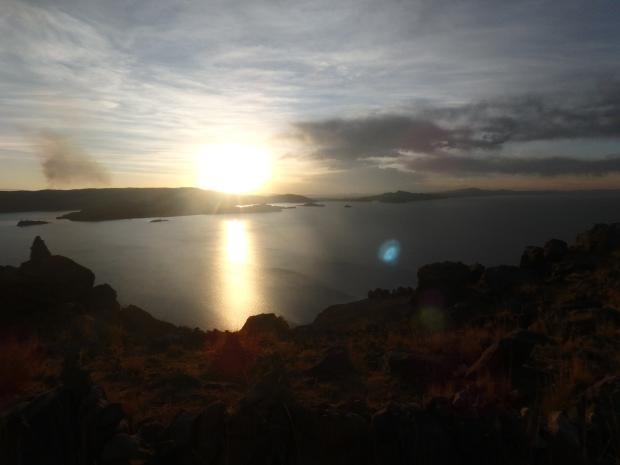Coucher de soleil, Amantani, Lac Titicaca, Pérou