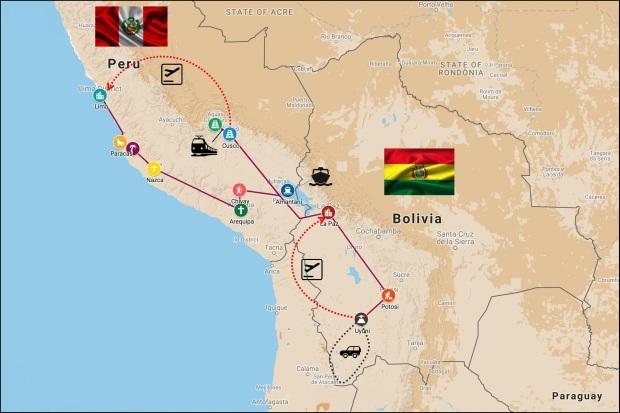 Itinéraire 3 semaines Pérou - Bolivie