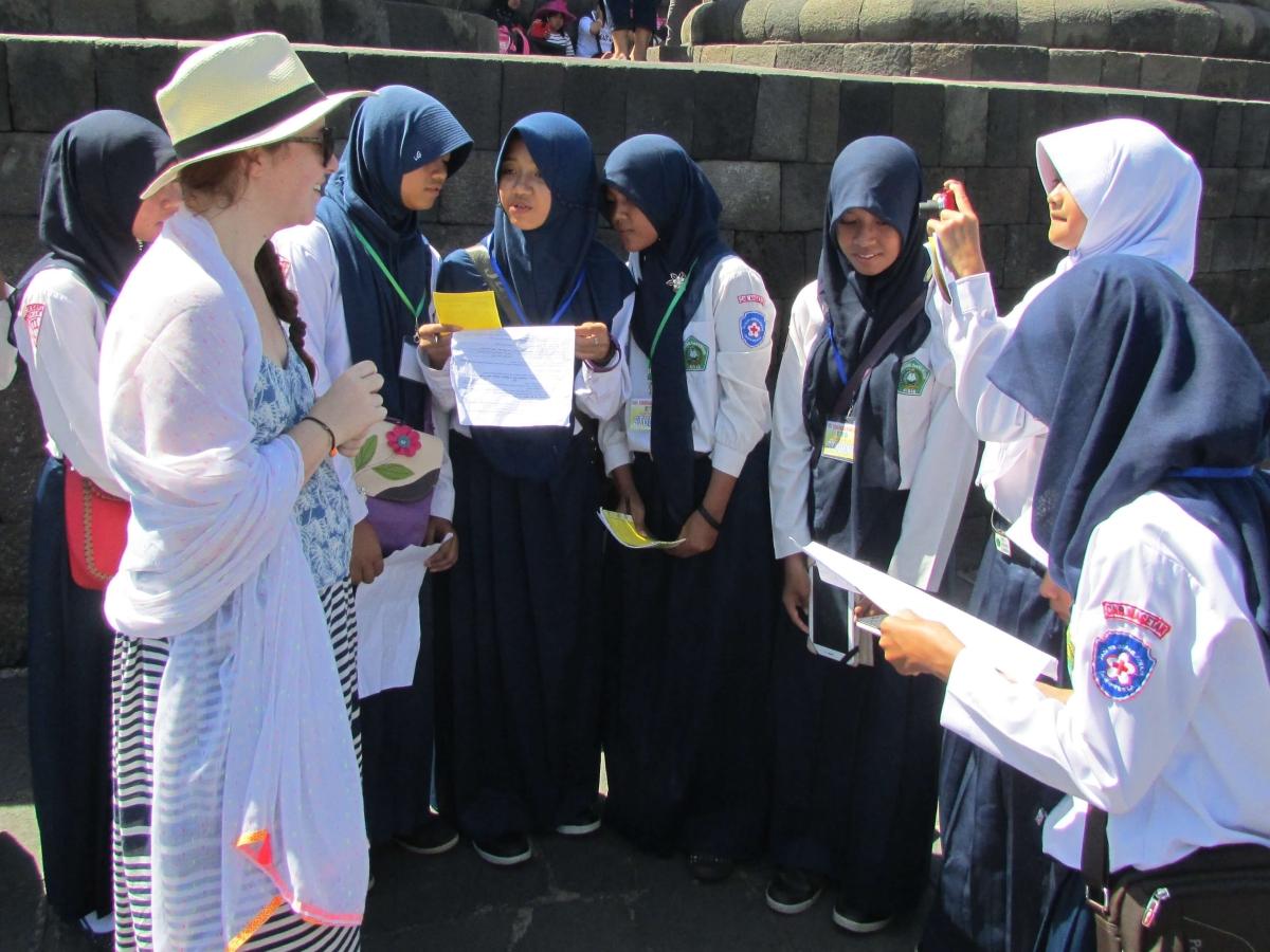 Groupes d'étudiants, Borodubur, Indonésie