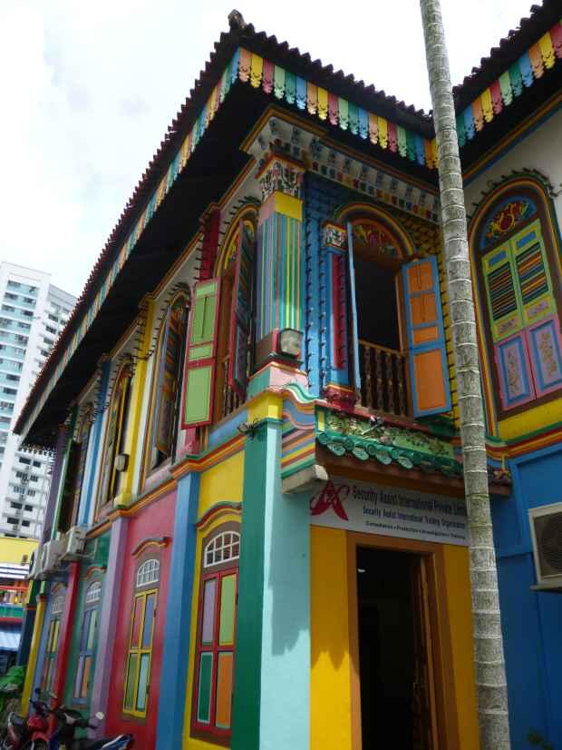 Maison colorée, Little India, Singapour