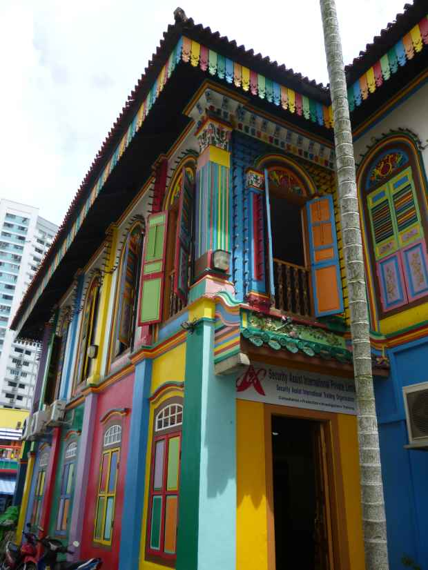 Maison colorée, Little India, Singapour