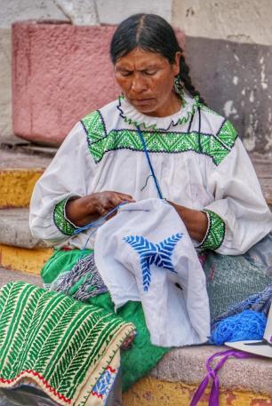 Femme qui tisse, Valladolid, Mexique