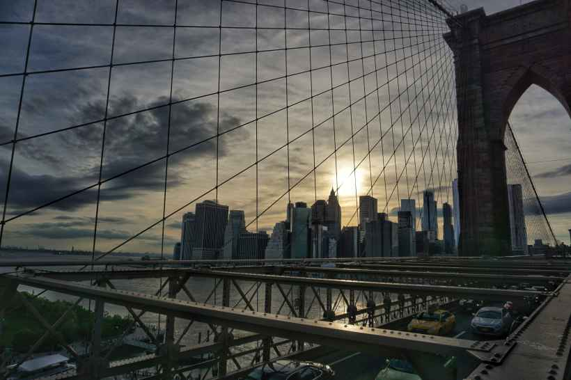 Coucher de soleil, Brooklyn Bridge, New York